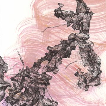 """From the serie """"Ajokkaat"""" 7/20. Oil paint and ink, 9 x 13 cm, 2020."""