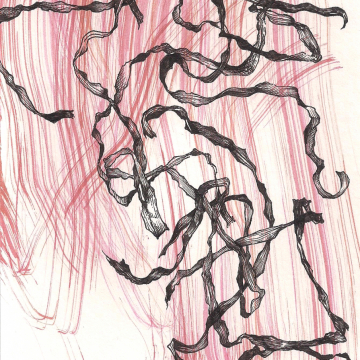 """From the serie """"Ajokkaat"""" 4/20. Oil paint and ink, 9 x 13 cm, 2020."""
