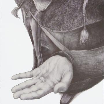 Amulets- Tooth. Ballpoint pen. 21 x 29 cm. 2015