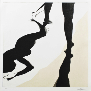 Shadow dance III. Aquatint, chine collé. 50 x 50 cm. 2013