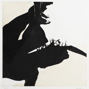 Shadow dance IX. Aquatint, chine collé. 50 x 50 cm. 2013